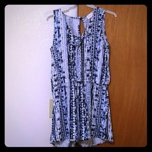 blue & white designed and patterned romper